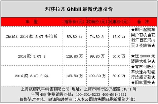 玛莎拉蒂Ghibli降价促销 现车直降30万 中国汽车交易网